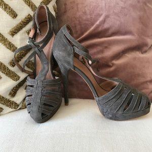 Joie Rexanne Grey Suede Platform Heels